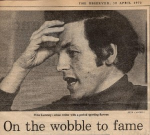 Peter Lovesey Wobble To Death newspaper clipping